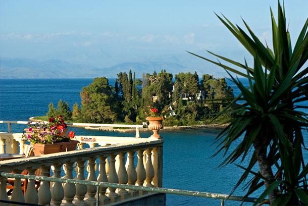 Blick auf Pontokinisi, Korfu